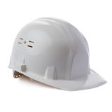 Plastic safety helmet over isolated white background Royalty Free Stock Images