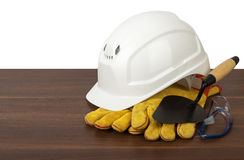 Plastic safety helmet Stock Images