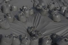 Plastic sand bags Royalty Free Stock Images