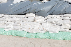 Plastic sand bags for flood protection royalty free stock photo