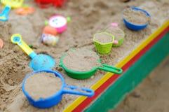 Plastic sandbox toys. Some colorful plastic sandbox toys Royalty Free Stock Photo