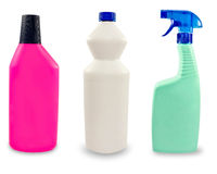 Plastic sanitary bottles.Isolated. Royalty Free Stock Photos