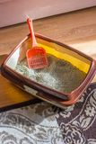 Plastic scoop in a cat litter box, standing on a floor. royalty free stock photography