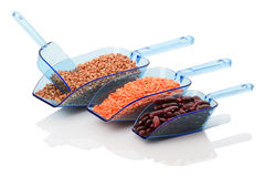Plastic scoops RAW plant products Stock Images