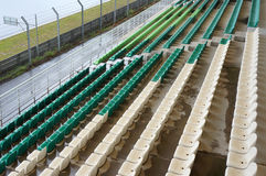 Plastic seats. In grandstand at race circuit Stock Photos
