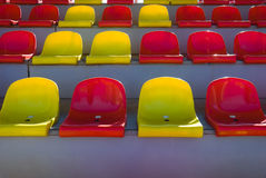 Plastic seats at stadium Royalty Free Stock Photography
