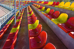 Plastic seats at stadium Royalty Free Stock Image