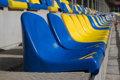 Plastic seats at stadium Stock Images