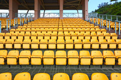 Plastic seats at stadium Royalty Free Stock Photo