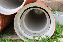 Plastic sewer pipe Stock Image