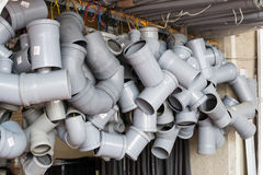 Plastic sewer pipes. For sale at the store stock photo