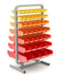 Plastic shelves organizer. Multicolored plastic shelves organizer on white background - 3D illustration Royalty Free Stock Image