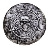 Plastic Shield with skull emblem Stock Photo