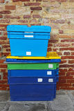 Plastic shipping boxes royalty free stock photo