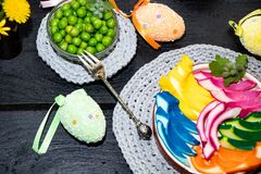 Plastic shop, colorful, Easter eggs. royalty free stock image