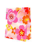 Plastic shopping bag with floral motif Royalty Free Stock Images