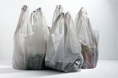 Plastic Shopping Bags. On Table Top stock photos