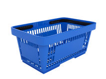 Plastic shopping basket. Double handle portable plastic shopping basket for supermarket. 3d  illustration on white background. Digitally generated image Royalty Free Stock Images