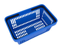 Plastic shopping basket. Double handle portable plastic shopping basket for supermarket. 3d  illustration on white background. Digitally generated image Stock Photography