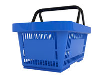 Plastic shopping basket. Double handle portable plastic shopping basket for supermarket. 3d  illustration on white background. Digitally generated image Stock Photos