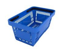 Plastic shopping basket. Double handle portable plastic shopping basket for supermarket. 3d isolated illustration on white background. Digitally generated image Royalty Free Stock Images
