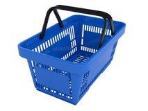 Plastic shopping basket. Double handle portable plastic shopping basket for supermarket. 3d isolated illustration on white background. Digitally generated image Stock Photos