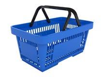 Plastic shopping basket. Double handle portable plastic shopping basket for supermarket. 3d isolated illustration on white background. Digitally generated image Royalty Free Stock Photography