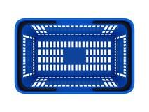 Plastic shopping basket. Double handle portable plastic shopping basket for supermarket. 3d isolated illustration on white background. Digitally generated image Royalty Free Stock Photos