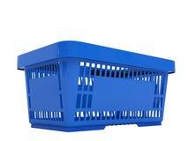 Plastic shopping basket. Double handle portable plastic shopping basket for supermarket. 3d isolated illustration on white background. Digitally generated image Stock Image