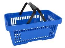 Plastic shopping basket. Double handle portable plastic shopping basket for supermarket. 3d isolated illustration on white background. Digitally generated image Stock Photo