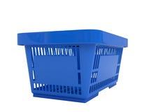 Plastic shopping basket. Double handle portable plastic shopping basket for supermarket. 3d isolated illustration on white background. Digitally generated image Stock Images
