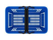 Plastic shopping basket. Double handle portable plastic shopping basket for supermarket. 3d isolated illustration on white background. Digitally generated image Stock Photography
