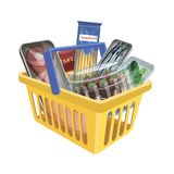 Plastic shopping basket with food on white background. Color vector illustration Stock Photos