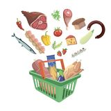 Plastic shopping basket with food on white background Stock Image