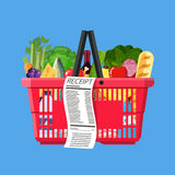 Plastic shopping basket full of groceries products. And receipt. Grocery store. Supermarket. Fresh organic food and drinks. Vector illustration in flat style Stock Photo