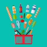 Plastic shopping basket full of groceries products. Red plastic shopping basket full of groceries products. Grocery store. Fresh organic food and drinks. Vector Stock Image