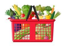 Plastic shopping basket full of vegetables. royalty free illustration