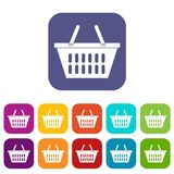 Plastic shopping basket icons set flat vector illustration
