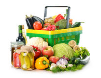 Plastic shopping basket isolated on white Stock Photography