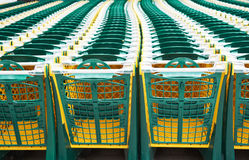 Shopping carts in supermarket Stock Images