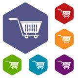 Plastic shopping trolley icons set hexagon Stock Photo