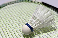 Plastic shuttlecock of badminton put on the green plastic shuttlecock of badminton put on the green net of badminton racket. it i stock photography