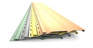 Plastic siding panels of different colors. Royalty Free Stock Photo