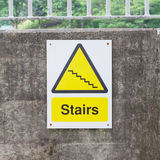Plastic sign, stairs Stock Photo