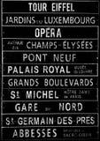 Plastic sign written with famous places Paris Stock Image
