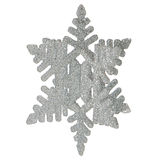 Plastic silver color snowflake. Chistrmas tree decoration, isolated on white background Stock Images