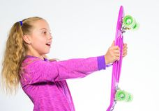 Plastic skateboards for everyday skater. Child hold penny board. Choose skateboard that looks great and also rides great. Penny board of her dream. Best gift stock image