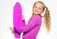 Plastic skateboards for everyday skater. Child hold penny board. Penny board of her dream. Best gifts for kids. Ultimate. Gift list help pick perfect present stock image