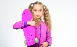 Plastic skateboards for everyday skater. Child hold penny board. Penny board of her dream. Choose skateboard that looks. Great and also rides great. Best gift stock images