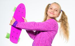 Plastic skateboards for everyday skater. Penny board of her dream. Best gifts for kids. Ultimate gift list help pick. Perfect present for girl. Child hold penny stock image